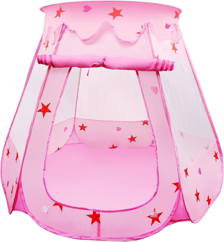 BelleStyle Tienda de Juegos para Niños, Pop Up Princesa Piscina de Bolas Castillo Plegable para Niños en Interiores y Exteriores Uso (Rosa)