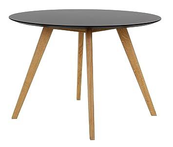 Esstisch rund schwarz  Tenzo 2181-024 Bess - Designer Esstisch rund, schwarz, Tischplatte MDF  lackiert, matt, Untergestell Eiche massiv, Höhe: 75 cm, Durchmesser: 110 cm