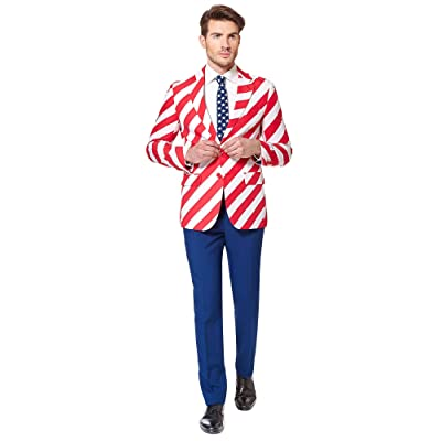 OppoSuits Men's Stars and Stripes Party Costume Suit: Clothing