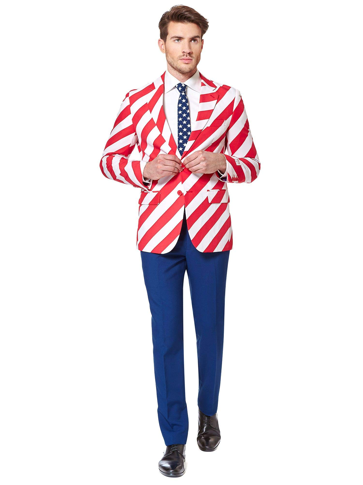Opposuits American Flag Suit for Men USA Outfit for The 4th of July with Pants, Jacket and Tie,United Stripes,42 by OppoSuits