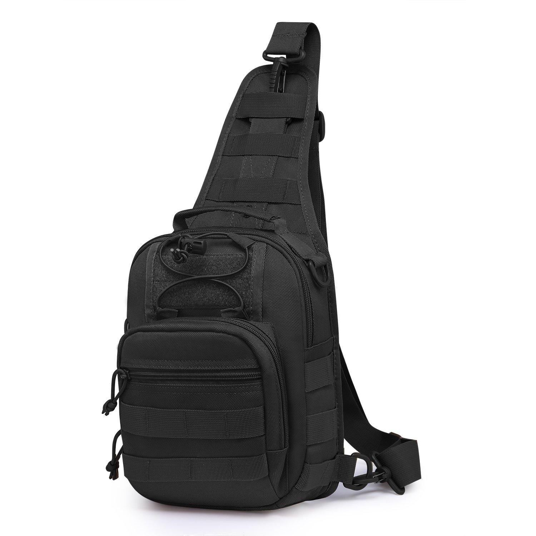 Mardingtop Tactical Sling Bag Molle Backpack Shoulder Daypacks for Hiking Military M6173-Black by Mardingtop