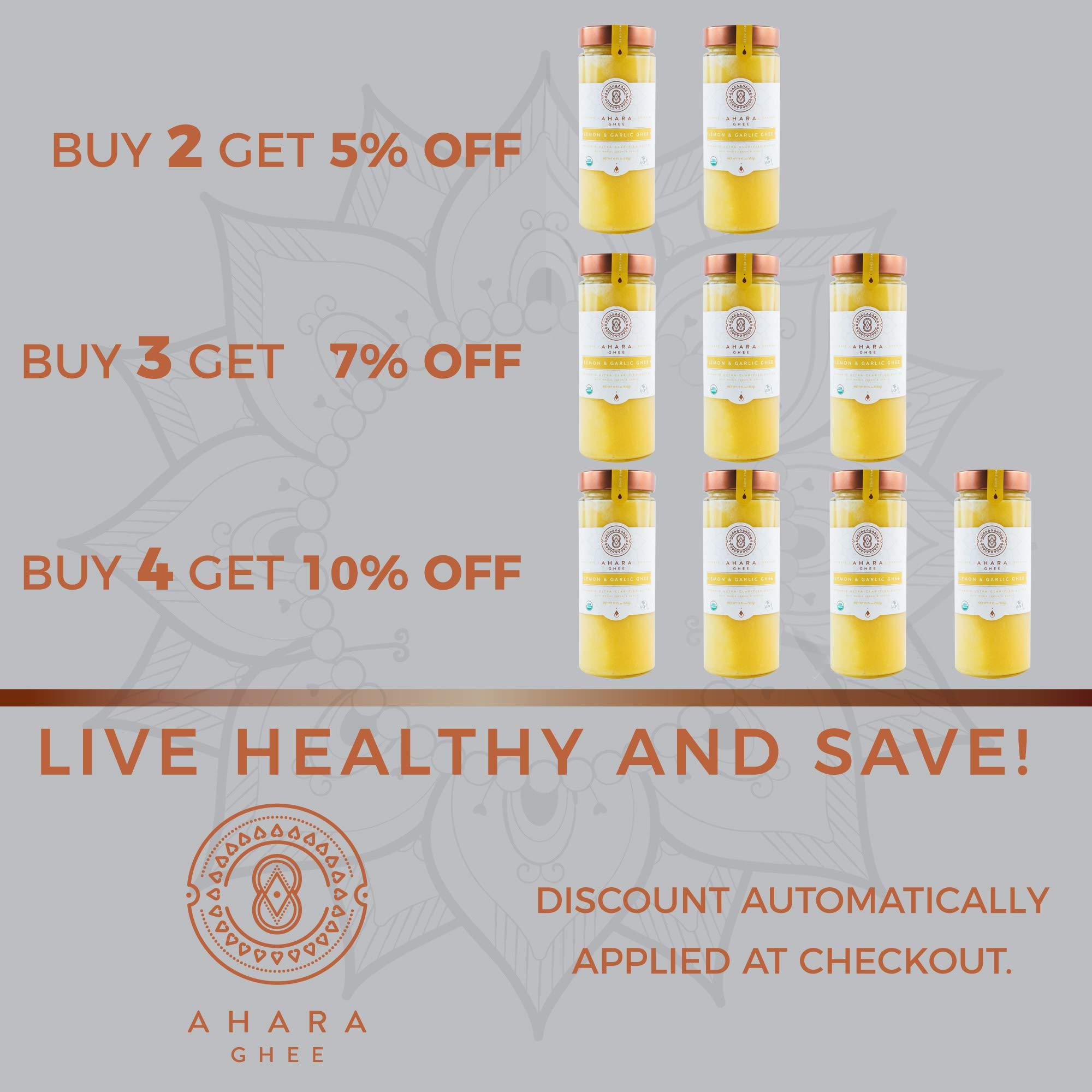 Ahara Rasa Lemon Garlic Organic Ghee 19oz, 100% Organic. Lactose & Casein Free USDA & Kosher Certified. No Salt, No GMOs. Made in USA by Ahara (Image #5)