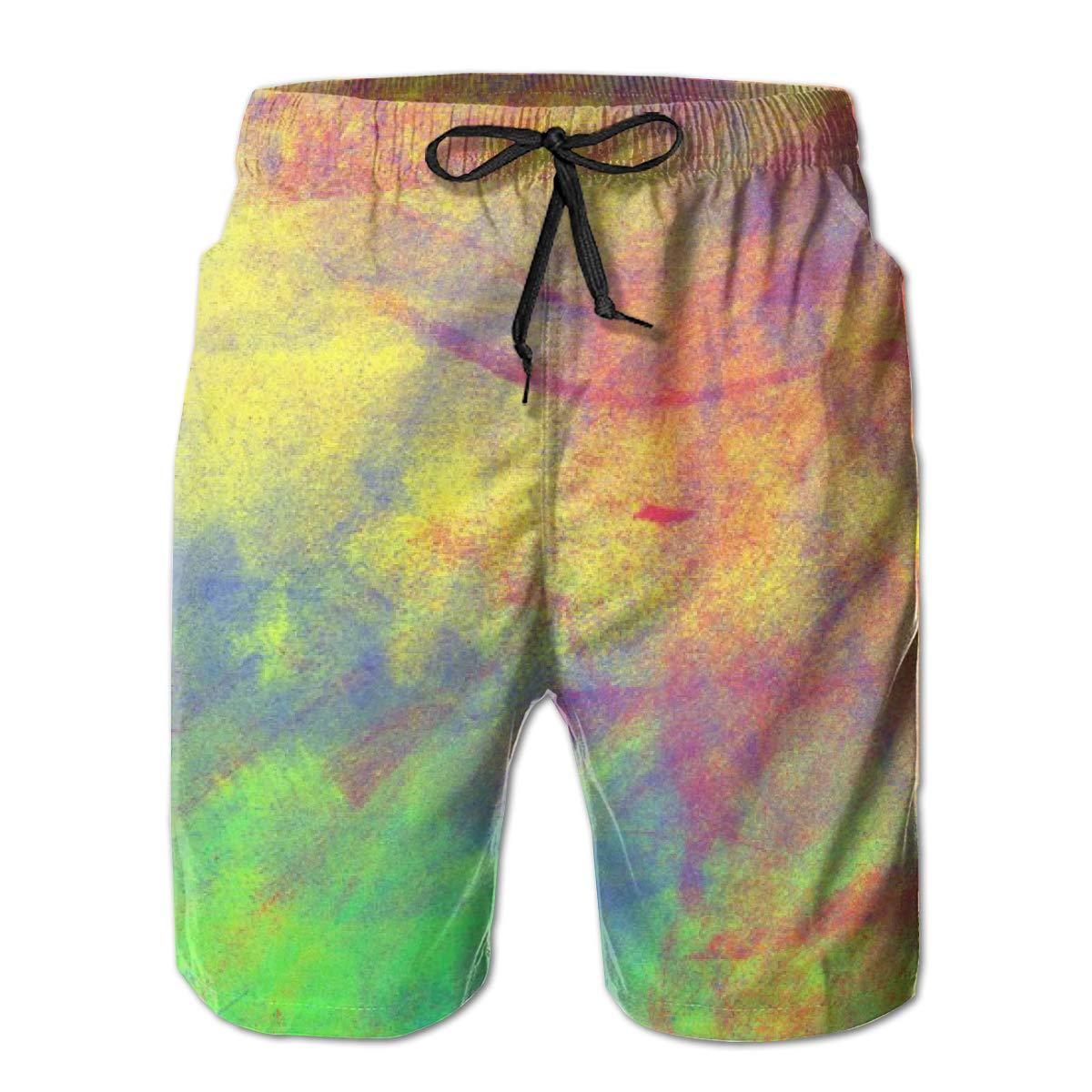 Tie Dye Vintage Pigment Mens Summer Casual Shorts,Beach Shorts Board Shorts