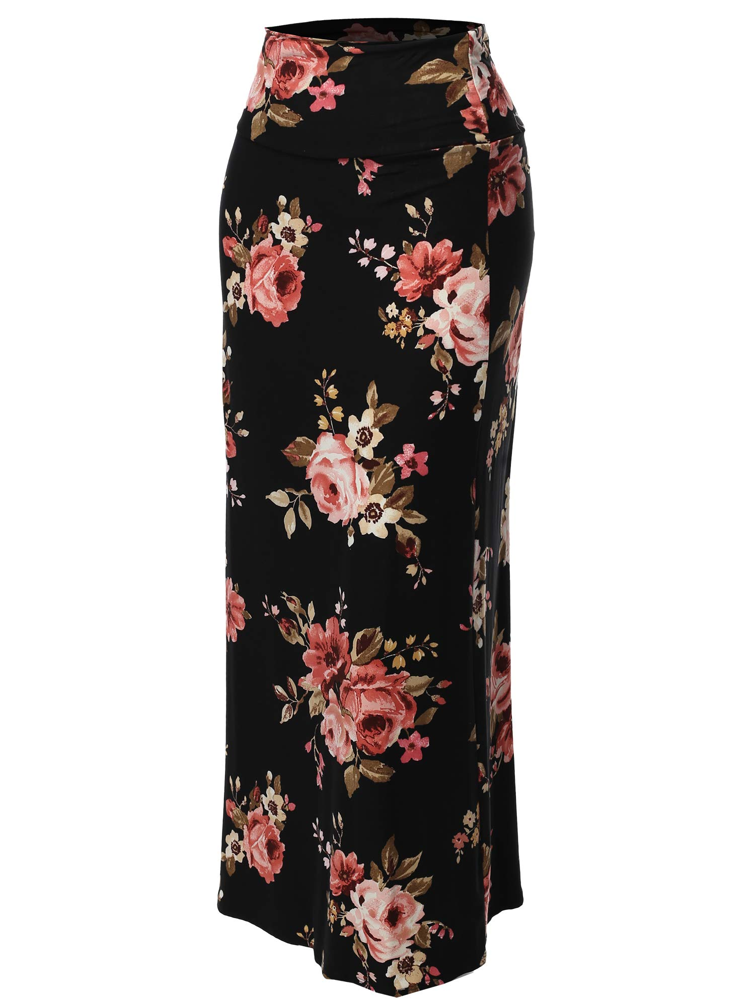 Stylish Fold Over Flare Long Maxi Skirt - Made in USA Black Pink Floral 2XL