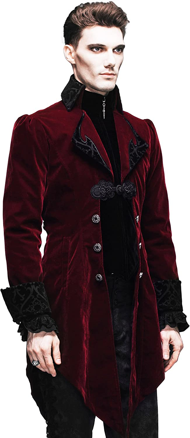 Steampunk Coat Gothic Clothing Cyberpunk Clothes Punk Jacket Renaissance Costume (L): Clothing