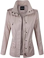 Makeitmint Women's Zip Up Military Anorak Jacket with Pockets