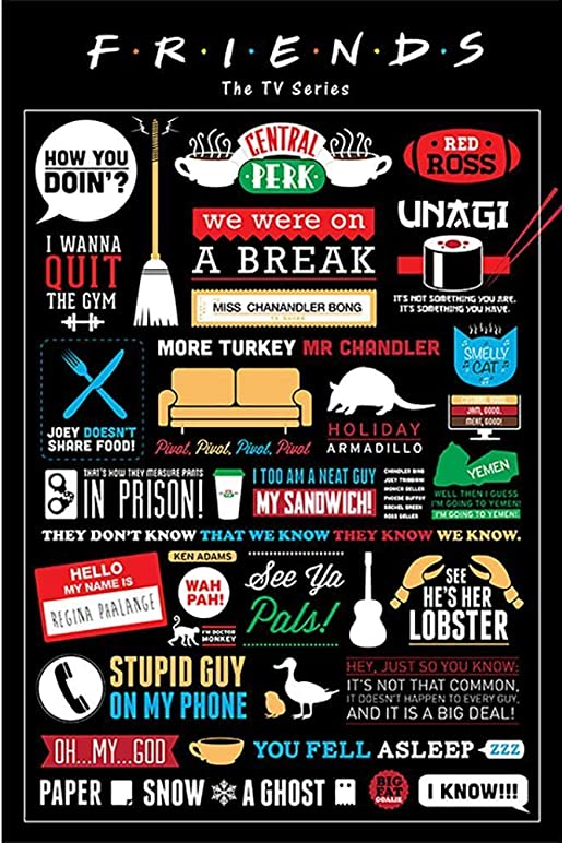 Amazon Com Friends Tv Series Show Infographic Famous Quotes Poster 24x36 Inch Posters Prints