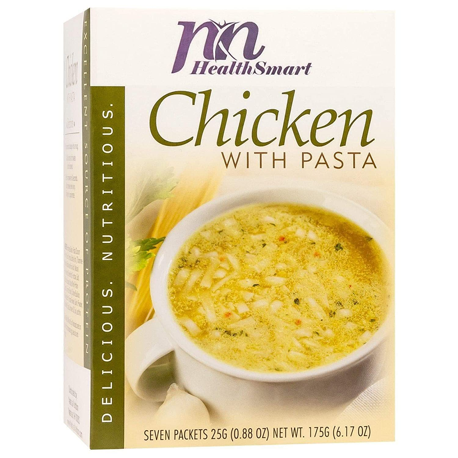 HealthSmart High Protein Chicken with Pasta Soup, 15g Protein, Low Calorie, Low Carb, Low Sugar, Low Fat, KETO Diet Friendly, Ideal Protein Compatible, 7 Count Box