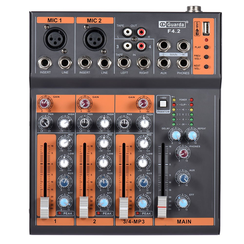 ammoon Mic Line Audio Mixer Mixing Console EQ USB Interface 48V Phantom Power with Power Adapter (7 Channels) 4334206077