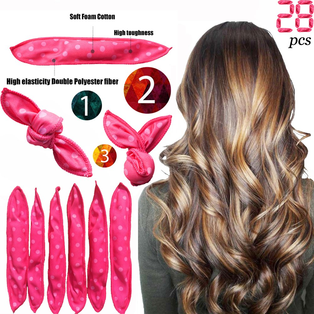 Foam Hair Rollers Curler Clips No Heat For Long/Short Hair Soft Style sleep Hair Rollers Care wig cap set Hoose
