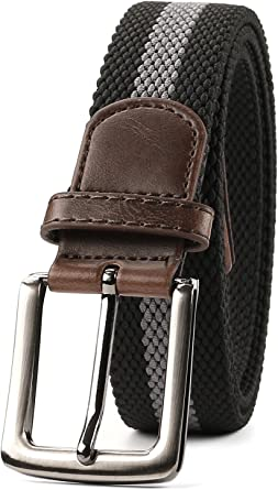 Braided Elastic Belt for Men//Women//Junior,Canvas Stretch Fabric Woven Stretch Multicolored Braided Belts by WHIPPY