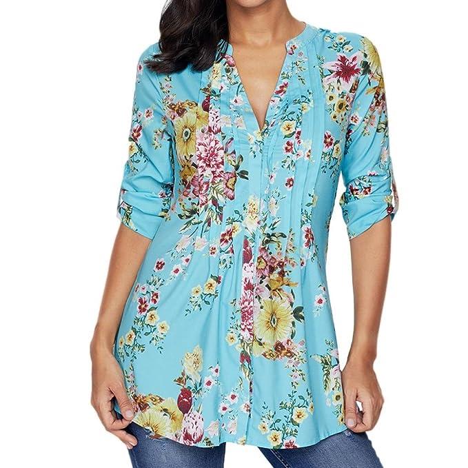 ❤ • •❤️Damen Blusen Shirt Tops Luckycat 2018 Heißer Mode Damen Shirts Blusen  Tops Frauen Vintage Blumendruck V Ausschnitt Tunika Tops Plus Size Shirts  ... ce1d451568