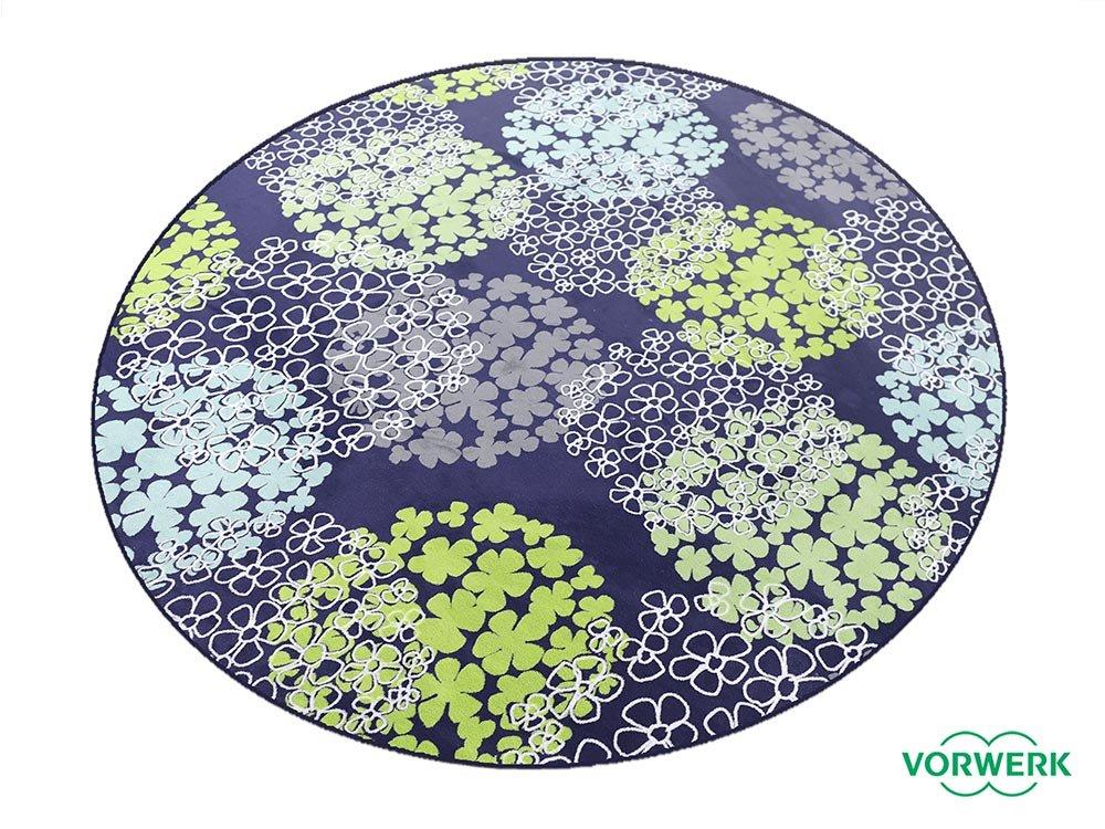 Vorwerk Bijou Fleur blau Kettelteppich Teppich 200 cm Ø Rund