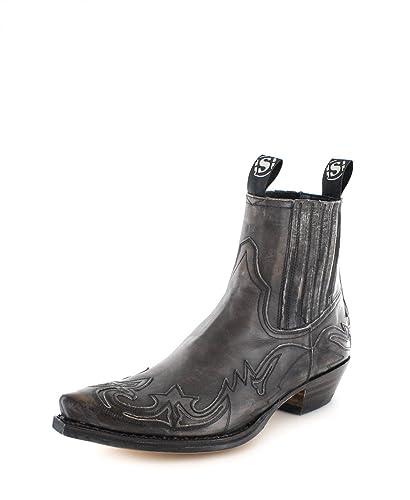 Sendra Boots 4660 Olimpia Antracita Lederstiefelette für Damen und Herren Grau Westernstiefelette, Groesse:46