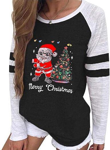 Womens Christmas Print Hoodies Plaid Splicing Long Seelve Round Lapel Neck Drawstring Sweatshirts with Pocket