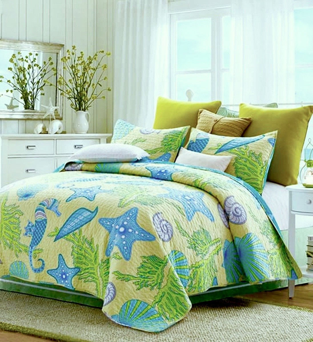 Beach House REVERSIBLE Coastal Tropical Sea lifeSEAHORSE SEASHELL Yellow Lime QUILT SET (3pc KING Size)