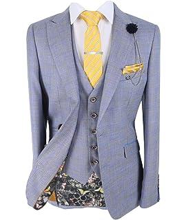Mens Cavani Radika Grey Check Wedding Summer Fashion 3 Piece Suit