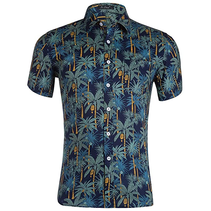 Pandapang Mens Floral Printed Classic Lapel Neck Curved Hem Short Sleeve Button Down Shirts