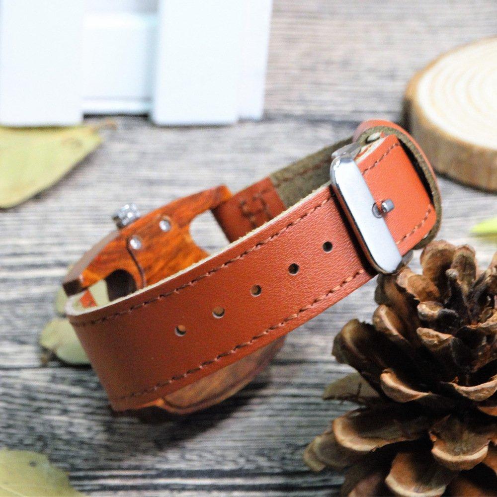 bc69fbb42104 Moda Raro Triangular Números Arábigos Lectura Fácil Madera Natural Correa  de cuero Cuarzo Relojes de pulsera para mujeres