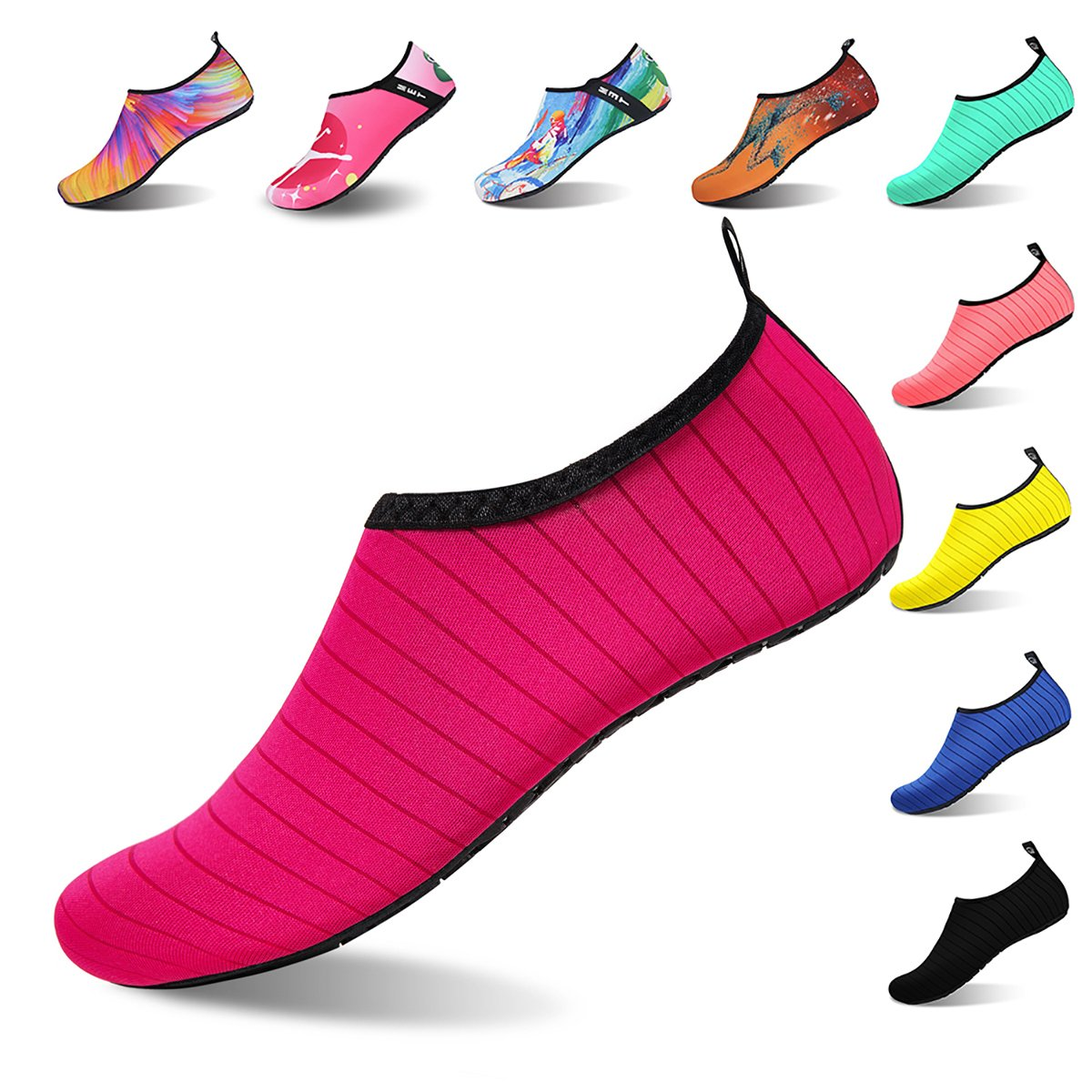 Womens and Mens Water Shoes Barefoot Quick-Dry Aqua Socks for Beach Swim Surf Yoga Exercise (Tw.Rose Red, M)