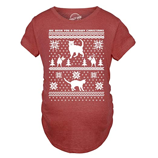 4179645d Maternity 8 Bit Cat Butt Ugly Christmas Sweater Funny Expecting Pregnancy T  Shirt (Heather Red