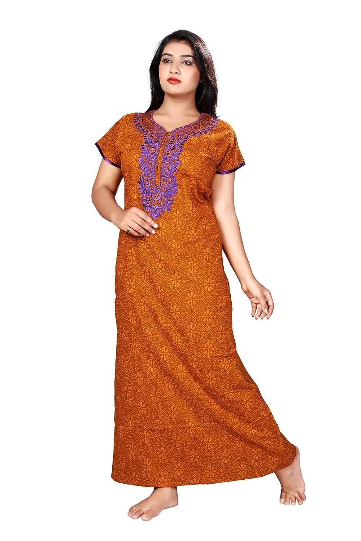 big sale big clearance sale wholesale dealer BAILEY SELLS Women's Cotton Nighty (Orange, Free Size)