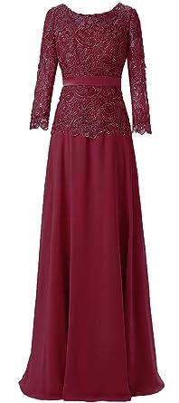 Women s Lace Applique Chiffon Long Sleeve Mother of The Bride Dresses  Burgundy ... ed48da85d