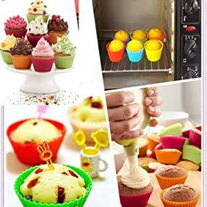 Wumedy New Kitchen Cooks Microwave Ovens Silica Gel Round Mould Baking Mini Cake Mould Cups Cupcake Makers