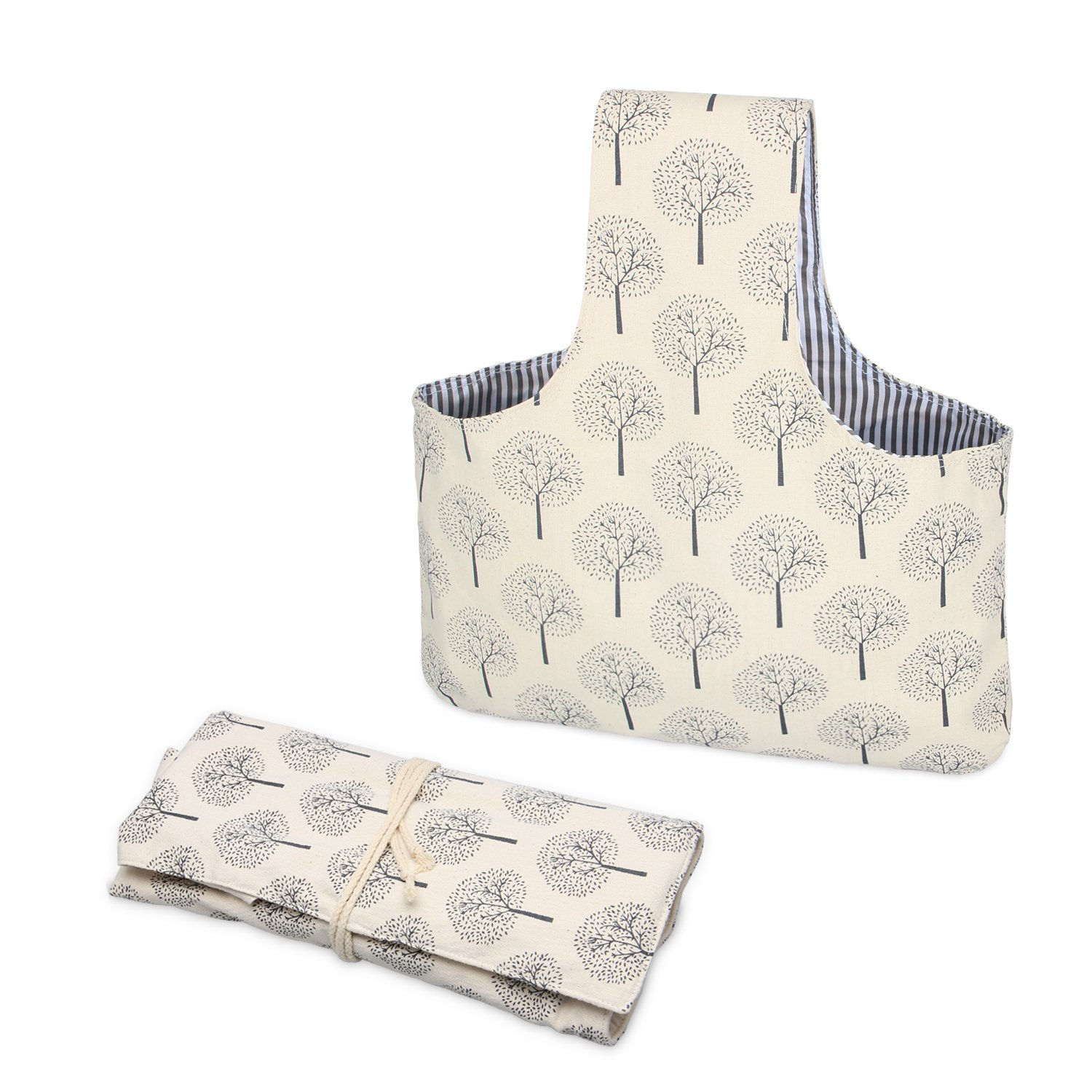 Teamoy 2 Pack Canvas Knitting Tote Bag and Knitting Needles Roll Holder for Yarn, Knitting Needles(14 Inches), Supplies and More, Perfect Size for Knitting on The Go(Large, Tree)