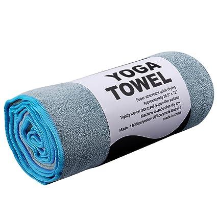REEHUT Toalla para Hot Yoga (182cm x 61cm)- Toalla de Microfibra Bikram para Entrenamiento, Fitness y Pilates