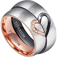 TIGRADE Real Love HeartTitanium Wedding Bands Couple Engagement Rings CZ Inlaid