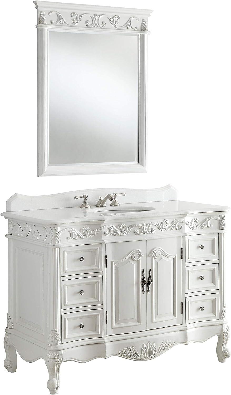 Amazon Com 48 Antique White Marble Beckham Bathroom Sink Vanity Mirror Sw3882w Aw 48mir Kitchen Dining