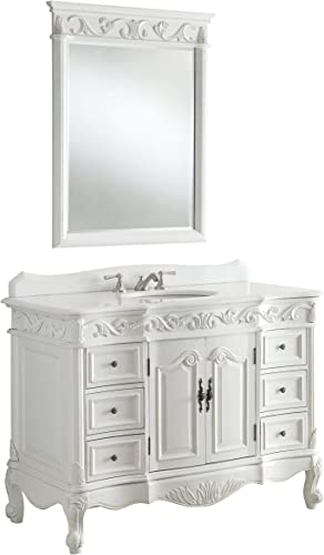 48″ Antique White Marble Beckham Bathroom Sink Vanity Mirror SW3882W-AW-48MIR