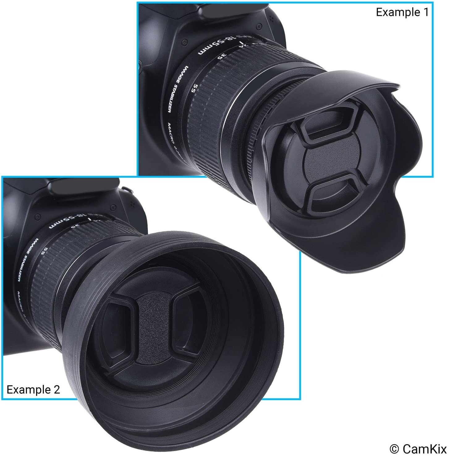 Reduces Lens Flare and Glare Rubber Blocks Excess Sunlight for Enhanced Photography and Video Footage + Tulip Flower Collapsible Sun Shade // Shield 72mm Set of 2 Camera Lens Hoods and 1 Lens Cap