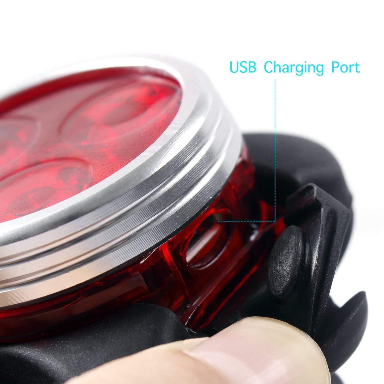 Unigear Phare Lampe LED de V/élo /éclairage USB Antichoc Impermeable VTT VTC Cycliste Poussette Camping Lumi/ère V/élo Rechargeable Avant Arri/ère 4 Modes de Luminosit/é