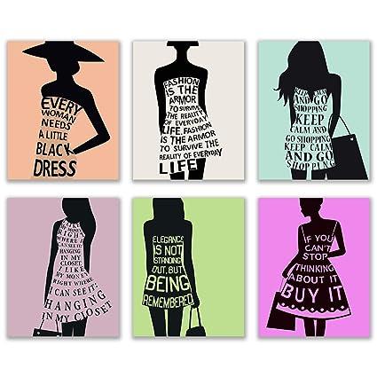bc28c7ddb Amazon.com: Cute Girls Fashion Quotes - Set of Six Dress Silhouette ...