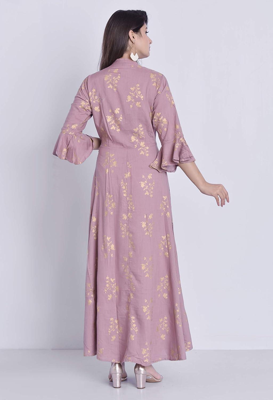 Pink Color Women's Rayon Angrakha Kurta