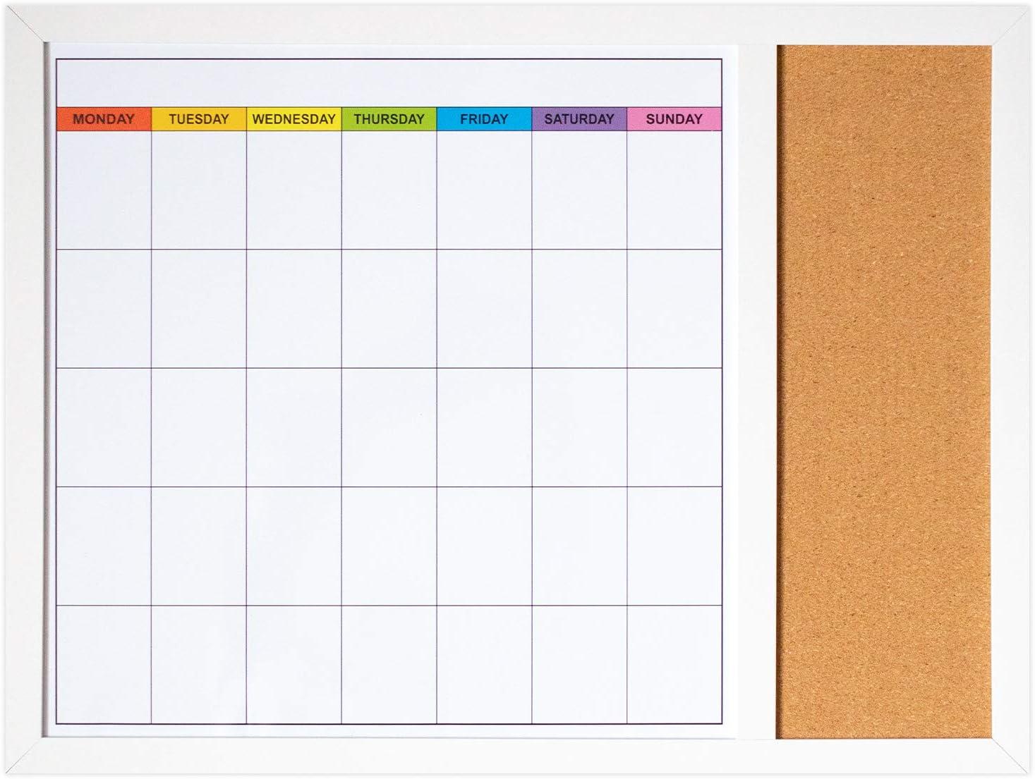 Dry Erase Calendar Board for Wall (18in x 24in) - Magnetic Whiteboard Calendar with Small Cork Board - White Board Dry Erase Monthly Calendar and Notes - Wood Framed Calendar Whiteboard