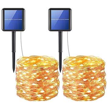 Luces de cuerda accionadas solares de AMIR, (200 LED, 8 modos) Luces de hadas estrelladas, luces de hadas solares de hada de los pies de los 20m, ...