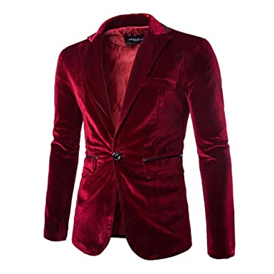 09a8462648be Thadensama Large Size Solid Corduroy Blazer Men Brand-Clothing Xxl Xl Black  Purple Red Men