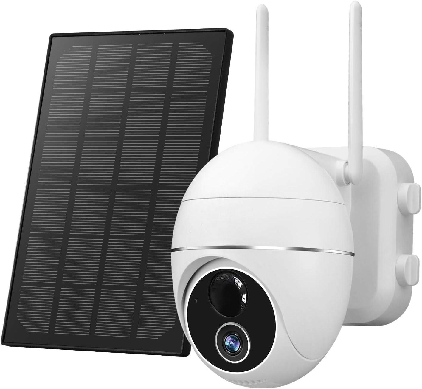 Cámara de seguridad inalámbrica para exteriores Zeetopin con batería de 15000 mAh, cámara de seguridad solar de giro / inclinación / zoom impermeable IP66 con detección de movimiento, visión nocturna