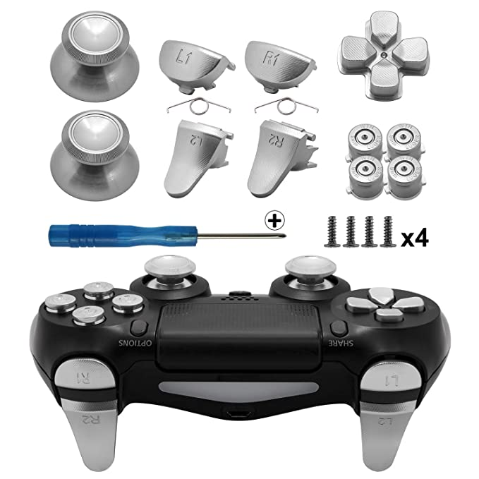 Amazon com: TOMSIN Metal Buttons for PS4 Slim/ PS4 Pro Controller