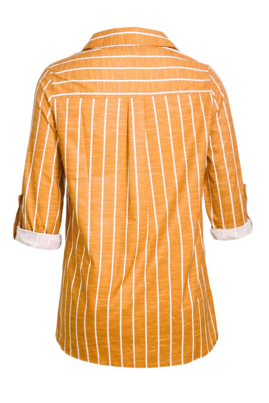 Aleumdr dam v-ringad rand långärmad lös passform knapp upp färg block blusar toppar Orange-1344
