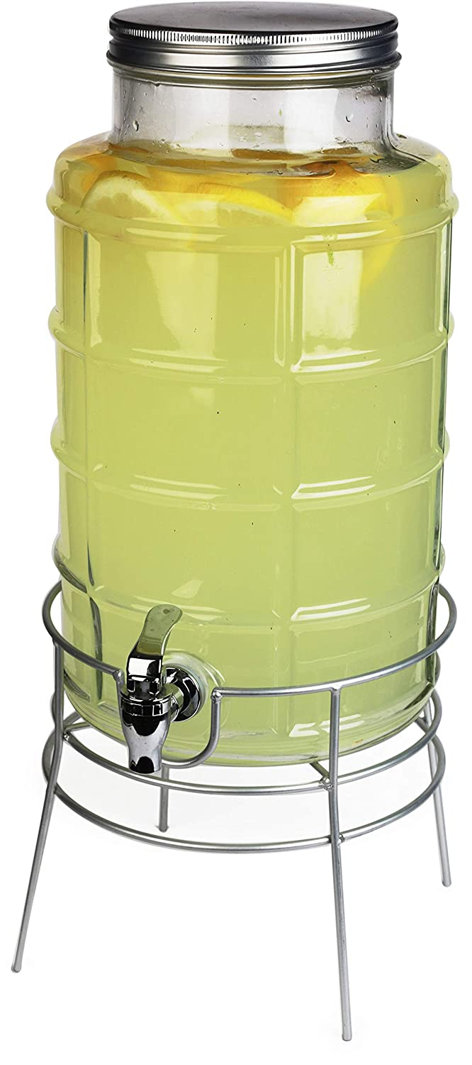 Circleware Newton Creek Glass Beverage Dispenser with Metal Stand and Lid, Entertainment Kitchen Glassware Drink Pitcher for Water, Juice, Wine, Kombucha & Cold Drinks, Huge 2.2 Gallon, Clear 69181
