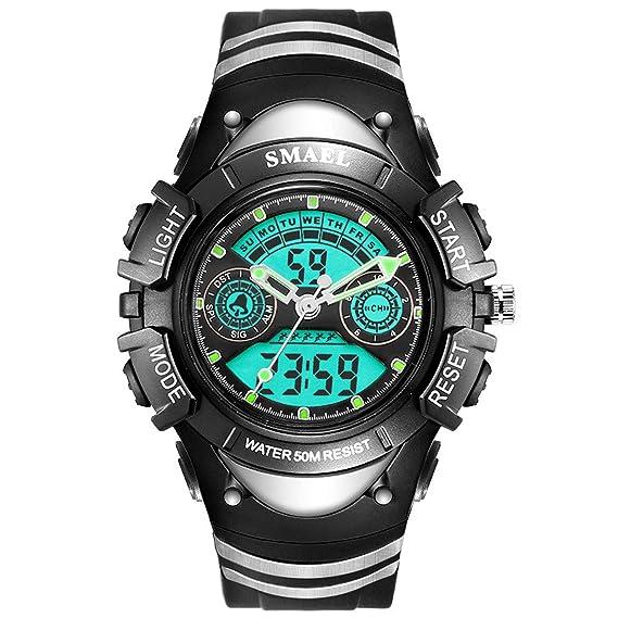 AnazoZ Relojes LED Reloj Hombre Luminoso Relojes Niños Reloj de Doble Pantalla Reloj Impermeable Reloj Despertador Reloj Deportivo Relojes Electronicos ...