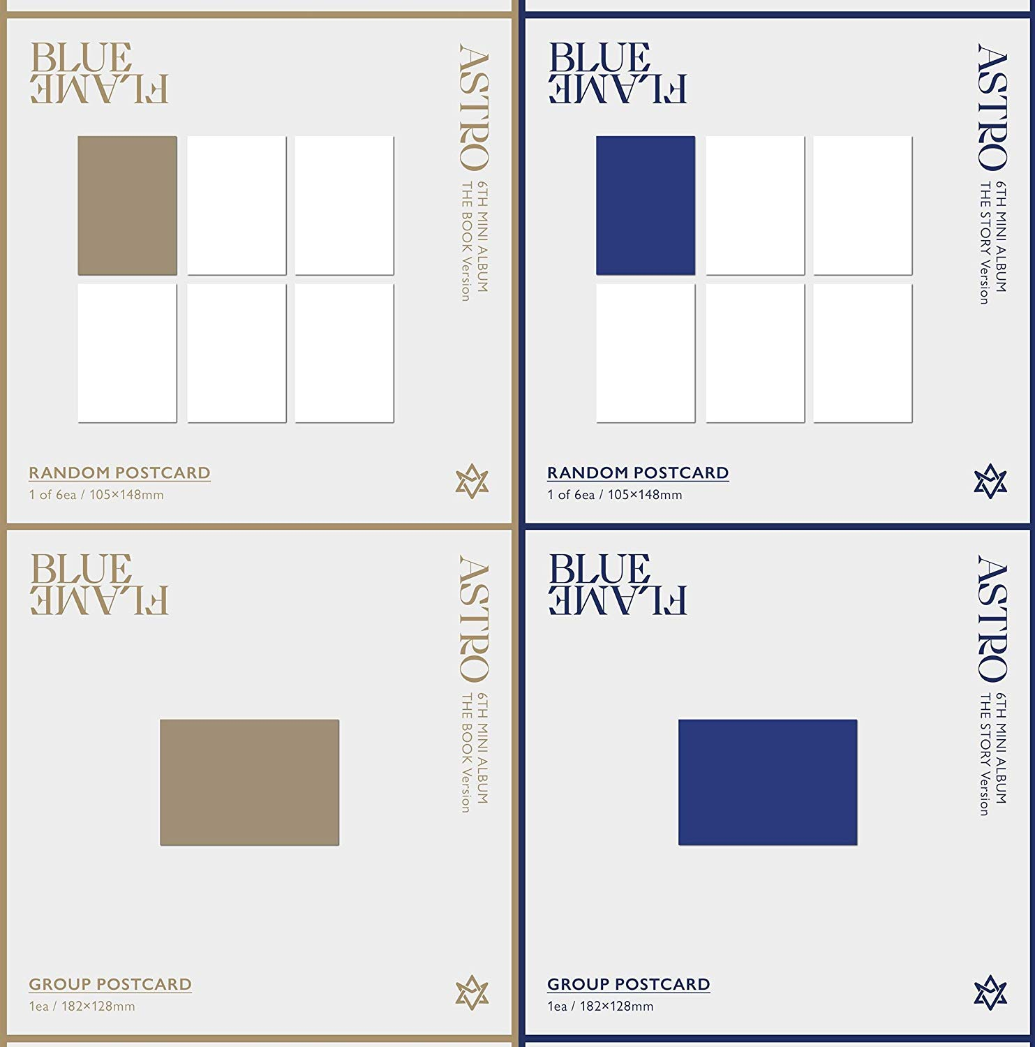 The Story ver. + The Book ver. Set - CD ASTRO 6th Mini Album Blue Flame Folded Poster Photocard Photobook Others with Extra Decorative Sticker Set Clear Photocard