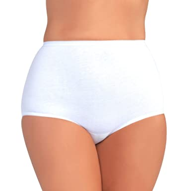 e390244fda1720 Vanity Fair Women's Plus Size Perfectly Yours Tailored Cotton Brief Panty  15318, Star White,