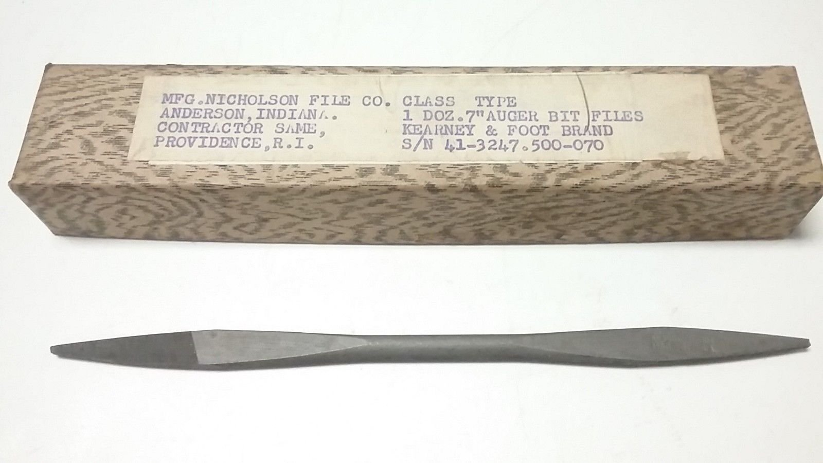 NEW - NICHOLSON 7'' TAPERED END - DOUBLE ENDED - AUGER BIT FILE - USA MADE - 48