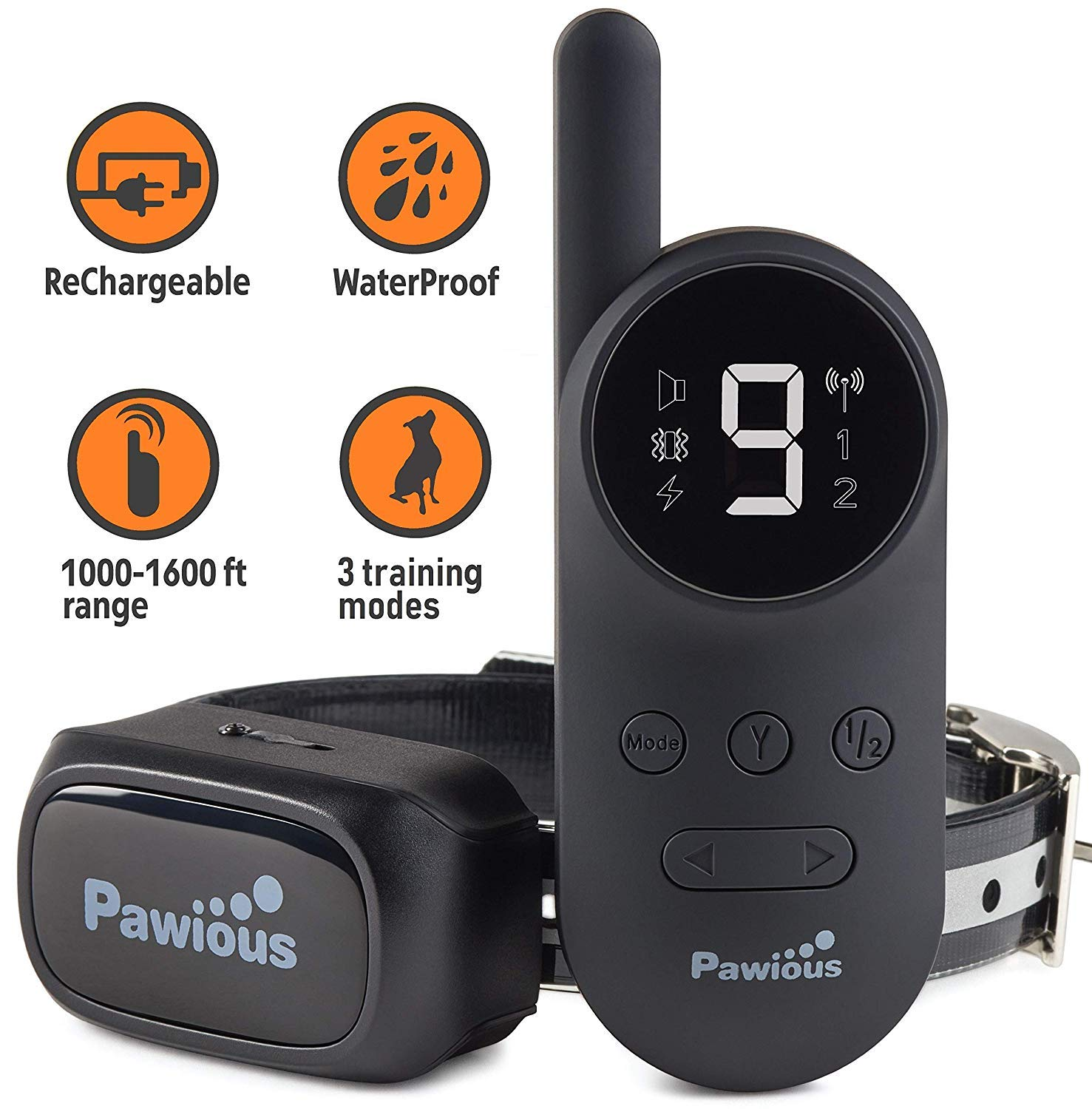 Pawious Dog Training Collar with Remote [Newest] - Rechargeable Dog Shock Collar for Small Medium and Large Dogs | Long Range up to 1600ft, Waterproof, E-Collar by Pawious