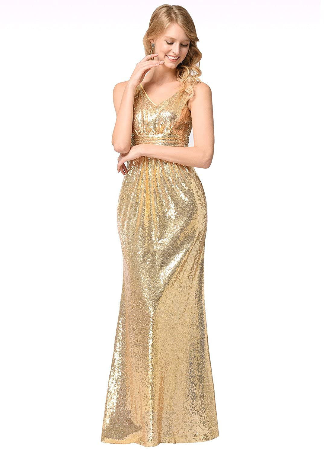 Ruiyige Womens V-Neck Wrap Dress Night Out Gown Party Long Sequins Dresses at Amazon Womens Clothing store: